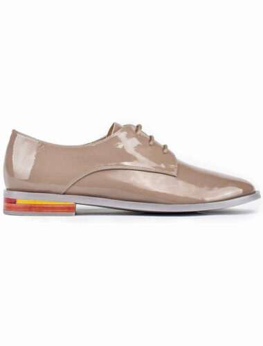 VITTO ROSSI // MULTICOLOR HEEL LEATHER OXFORD LOAFERS, COFFEE