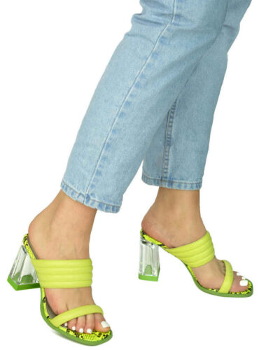 VITTO ROSSI // CLEAR HEEL LIME GREEN PYTHON TOE SANDALS