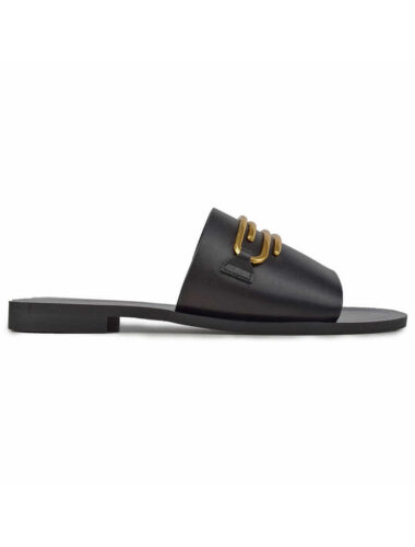 VITTO ROSSI // LEATHER SLIDE SANDALS WITH EMBELLISHMENT, BLACK
