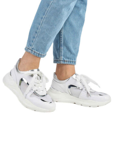 VITTO ROSSI // LEATHER & MESH LOW-TOP SNEAKERS, WHITE