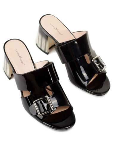VITTO ROSSI // MOSCOW MULE LEATHER SANDALS, BLACK