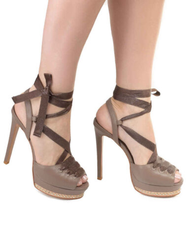 VITTO ROSSI // LACE UP PLATFORM SANDALS, BROWN