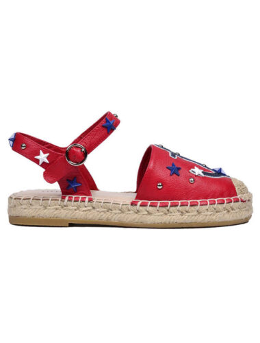 VITTO ROSSI // NAUTICAL LEATHER ESPADRILLE FLATS, RED