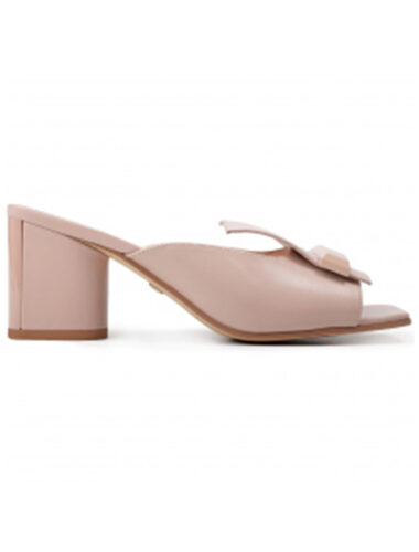 VITTO ROSSI // LEATHER BLOCK-HEEL MULE SANDALS, BLUSHED PINK
