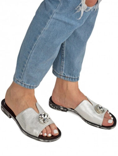 VITTO ROSSI // TOP CRYSTAL SUEDE SLIPPERS, SILVER